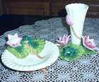 Fitz & Floyd 2 Piece Natures Treasurers Lily Pad & Frog Vase & Trinket Dish