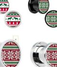 Christmas Plugs Ear Stretchers Ugly Sweater Design Poinsettia Moose 00G 0G 2G image