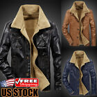 Men's Winter Warm Thick Fur Lining Button Down Coat Leather Jackets Trench Parka