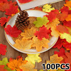 100pcs Artificial Maple Leaves Decorative Silk Maple Leaves Fake Fall Leaves
