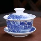 blue-and-white porcelain gaiwan cup bowl set China tureen covered bowl floral 01