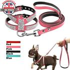 New Dog Harness And Leash Set Suede Leather Rhinestone Pet Dogs Walking Leads UK