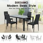 【20%OFF $108+】4/5/6/7PC Indoor Black/White Dining Set Kitchen Table&Chairs Glass