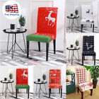 2Pcs Merry Christmas Printing Chair Covers Elastic Seat Stretch Cover Home Decor