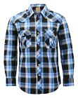 Men's Western Pearl Snap Button Down Casual Long Sleeve Plaid Cowboy Shirt
