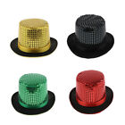 Sequin Magician Top Hat Men Women Steampunk Party Accessory Stage Fedora Hat