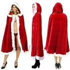 Red Mrs Santa Claus Merry Christmas Xmas Costume Cappa Cloak Cape White Faux Fur