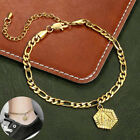 5mm Womens Figaro Chain Hexagon Initial Letter Charm Anklet Stainless Steel image