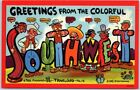 "1942 REG MANNING Artist-Signed Postcard ""Greetings form the Colorful SOUTHWEST"""