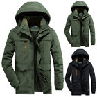 Mens Winter Warm Thick Fur Lined Hooded Jacket Zipper Bomber Military Parka Coat