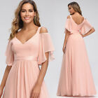 US Ever-Pretty Cold Shoulder Bridesmaid Prom Dresses Chiffon Holiday Ball Gowns $42.49 USD on eBay
