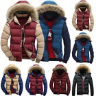 Mens Padded Bubble Faux Fur Collar Hooded Coat Warm Puffer Quilted Down Parka
