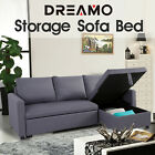 【20%OFF $655.2】3 Seater Sofa Bed Lounge Set Futon Couch Storage Chaise Corner