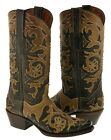 Womens Studded Overlay Western Cowboy Boots Distressed Brown Tan Snip Toe