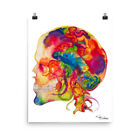 Adams Colorful Skull Art Matte Print Abstract Anatomy Art Medical Gifts Science
