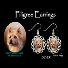 AUSTRALIAN TERRIER DOG - SILVER FILIGREE EARRINGS Jewelry