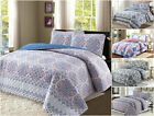 100% Cotton Reversible Quilt Set with Shams- 3Pcs, Full/Queen / King- All season image
