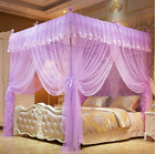 Luxury 4 Corner Post Bed Canopy Mosquito Net Full Queen King Size Netting Bed image