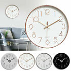 12In Round Modern Wall Clock Non-ticking Silent Quartz Home Office Decor Battery