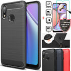 For Samsung Galaxy A10s / A20s Shockproof Carbon Fiber Case Cover+tempered Glass