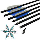 16-22''Crossbow Bolts Carbon Arrow+12Broadheads 100Gr Archery Target Bow Hunting