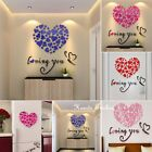 Charm Home Living Room Decor 3d Love Hearts Removable Diy Wall Sticker Decal Us