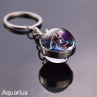 12 Zodiac Sign Key chains Ball Crystal Key tag Rings Scorpio Leo Aries key tags