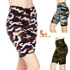 Women's Camouflage Printed 3 inch Wide Waistband Biker Leggings Bike Shorts