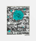 Teal Rose Flower Rustic Farmhouse Matted Home Decor Wall Art Picture