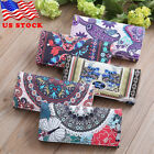 US PU Leather Wallets For Women Floral Accordion Ladies Wallet RFID Blocking #B image