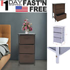 Steel Frame Wood Top Nightstand End Table Bedroom Bedside Furniture 3 Drawer B9