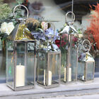 Large Chrome Metal Candle Holder Floor Lantern Windproof Lantern Stainless Steel