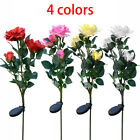 Solar Powered Flower Lamp Outdoor Stake Party LED Lily Rose Light Up Garden Yard