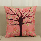 Colorful Cotton Linen Floral Tree Cushion Cover Sofa Throw Pillow Case Home Deco
