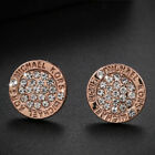 Fashion 925Silver Gold Silver Full Diamond Circle Crystal Ear Stud Earring
