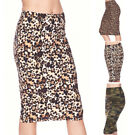 Внешний вид - Women's Casual High Waist Pencil Skirt Basic Prints Stretch Knit Straight Knee