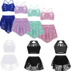 Girls Kids Shiny Lace Floral Top Skirts Dance Outfits Lyrical Modern Costume