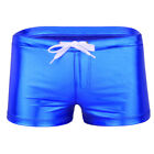 Drawstring Boxer Shorts Hot Sexy Male Latex Briefs Lounge Underwear House Wear
