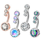 OUFER 14G Belly Button Rings Surgical Steel Clear CZ Navel Rings Belly Piercings image