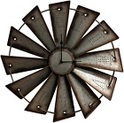 Windmill Wall Clock Home Rustic Farmhouse Design Metal Country Style Battery