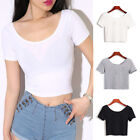 Short Sleeve Basic Casual T-shirt Crop Tops Women's Slim Fit Tees Summer Blouse