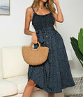 UK Women Summer Sleeveless Polka Dot Beach Dress Ladies Boho Holiday Sundress