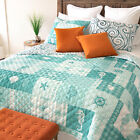 Your Lifestyle Seahorse Grid Microfiber Quilted Bedding Set