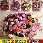 21 Heads Artificial Silk Flowers Rose Bunch Wedding Outdoor Home Party Decor