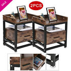 set of 2 Rustic Industrial End Table Chair Side Nightstand 2 Shelf Wood W/Drawer
