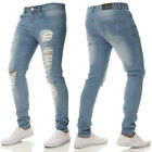 Men Designer Ripped Skinny Jeans Distressed Frayed Slim Fit Biker Denim Pants