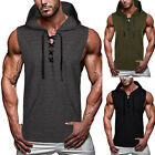 Men's Gym Fitness Workout Jogging Sleeveless Muscle Tee Hooded Tank Top T-Shirt image