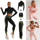 Women Long Sleeve Yoga Set Zipper Top Sport Suit Bra Workout Clothes Gym Fitness