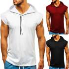 New Men Short Sleeve T-shirt Fitness Workout Gym Hooded Hoodie Muscle Solid Top image