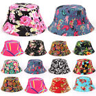 Womens Floral Bucket Hat Hiking Camping Boonie Travel Sun Fishing Caps Wide Brim